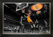 Kobe Bryant Dunking On Lebron James - Framed Canvas - L.a. Lakers Vs Miami Heat