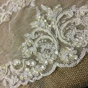 Bridal Lace Fabric Hand Beaded Allover Vintage French Alencon 52 Sku M0968d2