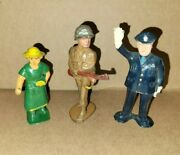 Lot Of 3 Lead Soldier, Police Officer, Farmers Wife Figurine Barclay/manoil