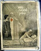 1918 Authentic Wwi Poster- Red Cross Nurse We Need You