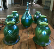 7 Lot Orient And Flume Iridescent Art Glass Lamp Shades And Finial Green Signed