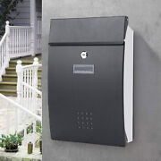 Modern Outdoor Lockable Letter Post Box Mailbox Wall Mounted Secure Mail Black