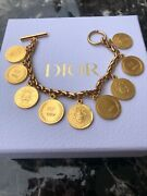 Christian Dior Bracelet Bangle Chain Auth Plated Bicentenary Medals Coin 52a F/s
