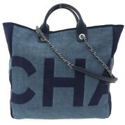 2way Large Shopping Bag Tote Bag 25s Canvas Blue
