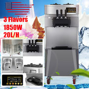 20l/h Automatic Commercial 3 Flavor Soft Serve Ice Cream Maker Machine Stainless