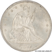 1877-s Seated Liberty Half Dollar Pcgs Ms65 High Grade Type Coin