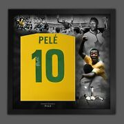 Pele Signed Brazil Style 1970 Football Shirt In Framed Mount Picture Display