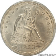 1853 Seated Liberty Quarter With Arrows And Rays Pcgs Ms 64