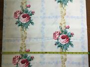1950s Polished Cotton Chintz Floral Fabric Roses Ribbons 46wx9.7yds. Springs Ind