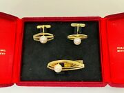 Vintage Mikimoto 14 Ct Gold And Pearl Cufflinks And Tie Clip