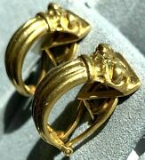 Vasari 18k Yellow Gold Sculpted Ionic Column Architectural Hoop Vintage Earrings