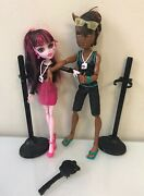 Monster High Dolls- Clawd Wolf And Draculaura Music Festival Giftset Pack Of 2 Euc