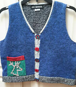 Ani Barrie Small Ugly Christmas Sweater Vest Cardigan Reindeer Navy Blue Gray Us