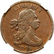 1806 C-2 R-4 Ngc Vf Details Draped Bust Half Cent Coin 1/2c