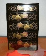 Japanese Antique Bento Wood Box Lacquer 5 Tier High Quality Meiji Period