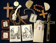 Europe 1930andacute Lot X12 Pieces Scapulars Cross Crucifix Medal...ol Of Mount Carmel