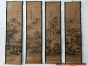 China Calligraphy Paintings Scrolls Old Chinese Painting Scroll Four Screen A868