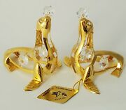 Set Of 2 Sea Lion Figurines/ornaments 24 K Gold Plated With Austrian Crystal