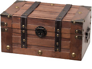 Alexander Wooden Storage Chest Trunk | Decorative Small Wood Box With Lid