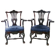 Pair Antique Mahgany Chippendale Hand Carved Chairs Ball Claw Feet Eagle Arms