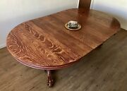 Beautiful Antique Early 20th Century Solid Quarter Sawn Tiger Oak Dining Table