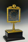 French Robert Houdin Square Glass Dial Double Hands Mystery Magic Mantle Clock