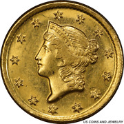 1849-o Liberty Gold Dollar Pcgs Ms62 Type 1 New Orleans