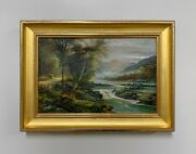Antique Signed English Landscape Signed Oil Painting