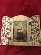 Antique 1800s Church Religious Nun Painting In Carved Frame