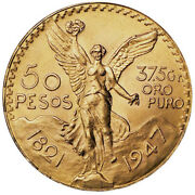 1947 Mexico Gold 50 Pesos ✪ Brilliant Uncirculated ✪ Bu Unc Ms L@@k Now◢trusted◣