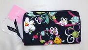Vera Bradley Accordion Wallet - Ribbons - Navy Blue Background - New With Tag