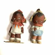 Rare Antique Black Americana Bisque Boy And Girl Baby Dolls-japan Collectible