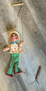 Old Vintage Old Man Straw Hat Marionette Puppet Doll Works Educational And Fun