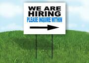 Now Hiring Blue And Black Right Yard Sign Road With Stand Lawn Sign Single Sided