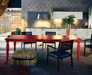 Floranse Italian Red Pepper Lacquer Dining Table 9 Feet Long
