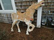 Antique Carousel Carved Wood Figural Horse With Glass Eyes