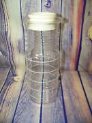 Vintage Pyrex 1 1/2 Qt. Clear Glass Almond Striped Lidded Beverage Carafe As Is
