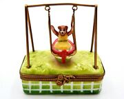 French Limoges Bear In Swing On Trinket Box. Hand Crafted And Painted With Enamel