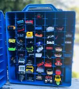Hot Wheels Model Car Toy Case Blue Storage Set Of 48 Vintage Collectible Cars