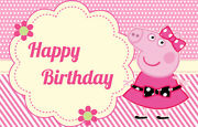 Peppa Pig Pink Dress Personalised Birthday Party Banner Backdrop Background