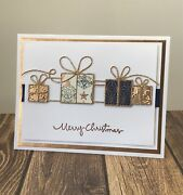 Stampinandrsquo Up Christmas Card Kit - Gifts Ribbon Bow Rose Gold Glitter Elegant