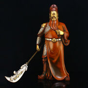 5 Kg Chinese Silver Plated Gilt Gold Red Copper Statue - General Guangong