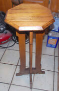 Mid Century Oak Plant Stand Ps94