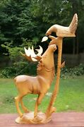 Large Russian Wooden Carved Moose Bird Eagle Lonely Wood Carving Russia Ussr