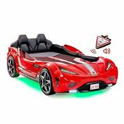 Cilek Twin Size Kids Race Car Bed Frame Remote Controlled, Led Headlights Red