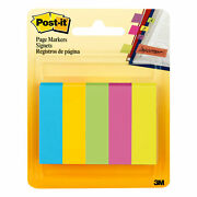 Post-it Page Markers Assorted Colors 1 Ea Pack Of 5