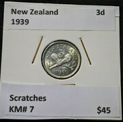 New Zealand 1939 3 Pence Threepence 3d Km 7 Scratches 119