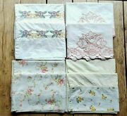 Vintage Lot Of 4 Pair Embroidered Floral Pillowcases Dan River Cannon Springmaid
