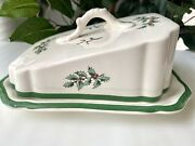Spode Christmas Tree Rare Scalloped Wedge Covered Cheese Dish England