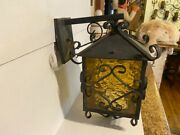 Vintage Spanish Revival Large Amber Glass Outdoor Wall Light 1783